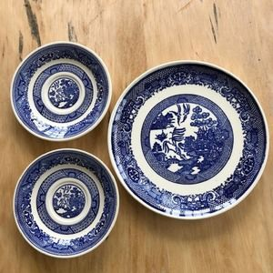 Vintage Blue Willow Ware Plate & 2 Saucers